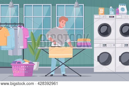 Self Service Coin Laundry Facility Interior Flat Cartoon Composition With Customer Ironing His Washe