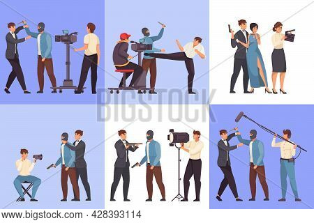 Movie Production Six Flat Square Compositions Of Filmmaking With Filmmaker Actors Doubler Characters