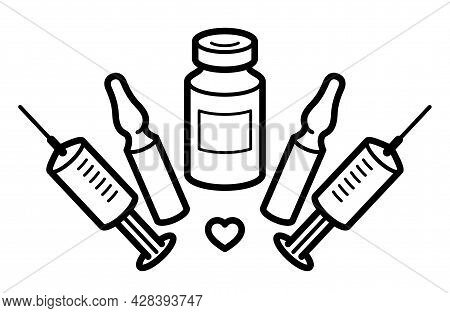 Vaccination Theme Vector Illustration Of A Syringe With Ampules And Vial Isolated Over White, Epidem