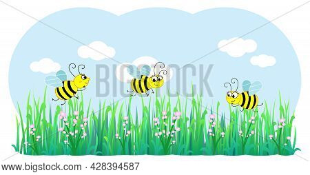 Three Cute Bees Flying On Flowers And Grass, Cartoon Vector Illustration