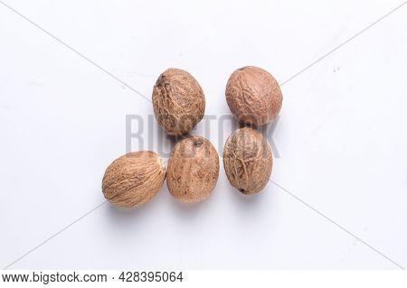 Flatlay Of Pyramid Of Nutmeg, Myristica Fragrans