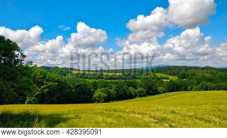 Picturesque South Bohemian Countryside Seen From Side Of The Forest Just Next To A Green Pasture. Be