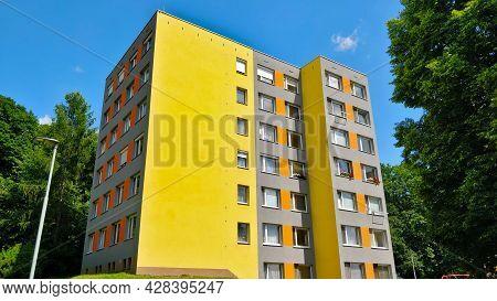 Prague, Czech Republic - July 3, 2021: Colorful Reconstructed Communist Style Block Of Flats In Quar