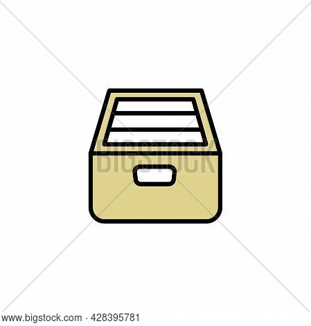 Drawer Archive Directory With Documents Color Icon On White. Trendy Flat Isolated Symbol Sign Can Be