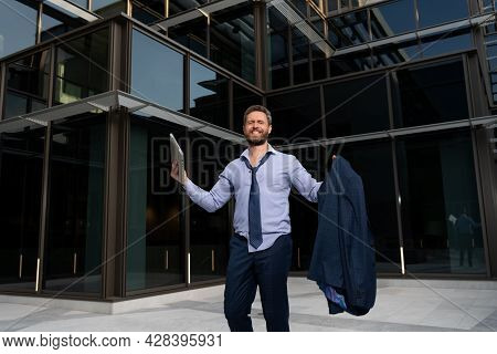 Successful Boss In Formalwear. Excited Entrepreneur. Business Excitement. Man Expressing Positivity