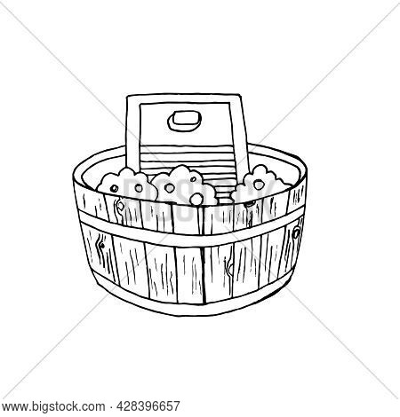 Sketch Of A Washing Board And A Wooden Water Basin On A White Background. Retro Laundry In The Style