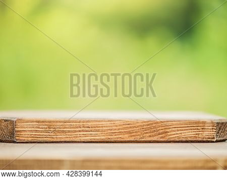 Concept Nature. Wooden Soft Focus Background On Nature Background.