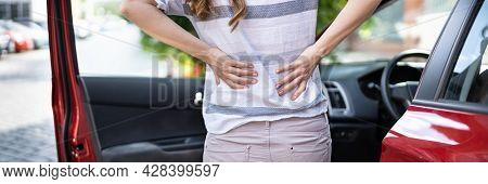 Injury And Car Accident. Whiplash And Hurt Back