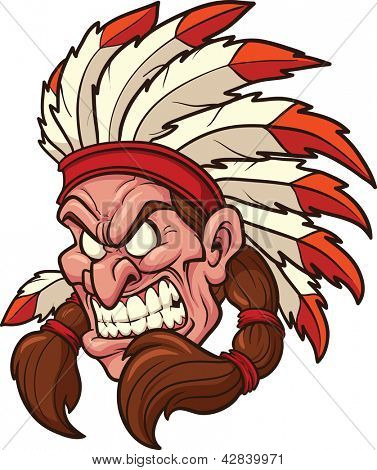 Indian chief mascot. Vector clip art illustration. All in a single layer.