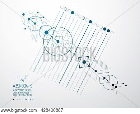 Engineering Technological Vector Wallpaper Made With Circles And Lines. Modern Geometric Composition
