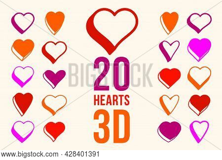 3D Dimensional Hearts Vector Icons Or Logos Set, Heart Shaped Buttons, Graphic Design Elements Colle