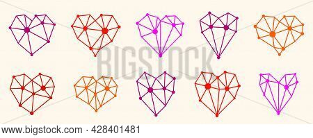 Low Poly Geometric Hearts Vector Icons Or Logos Set, Graphic Design 3D Love Theme Elements, Polygona