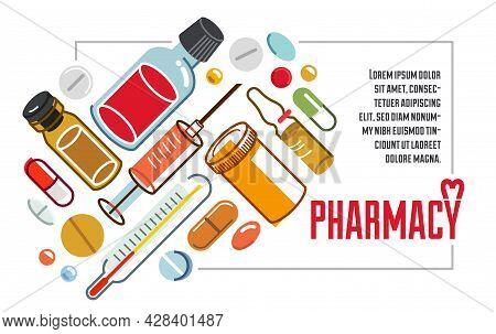 Medical Flyer Of Pharmacy Drugstore Or Medical Clinic Vector Flat Design, Compositions Of Pills Bott