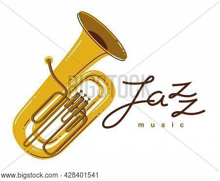Jazz Music Emblem Or Logo Vector Flat Style Illustration Isolated, Tuba Logotype For Recording Label