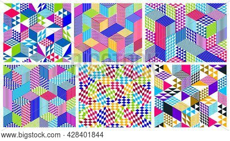 Seamless Cubes Vector Backgrounds Set, Rhombus And Triangles Boxes Repeating Tile Patterns, 3D Archi