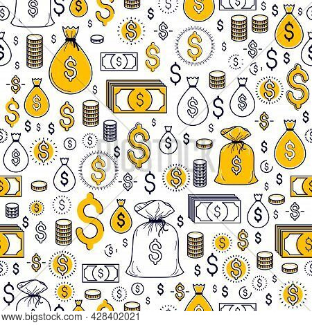 Financial Icon Set Seamless Background, Backdrop For Financial Website Or Economical Theme Ads And I