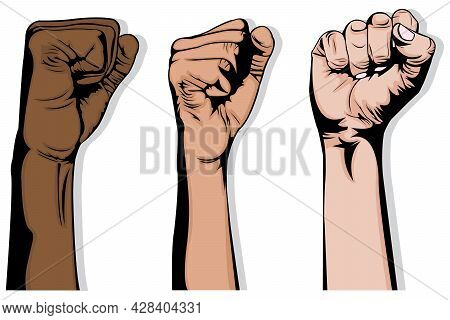 Simple Illustration Of Three Interracial Hands That Raise Their Fists Up On White Background. Human