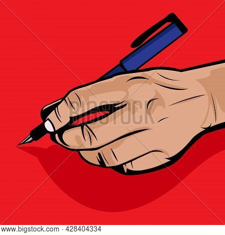 Vector Illustration Of Left Handed Writing Using A Pen On Red Background.left Hand Day. Left Handed