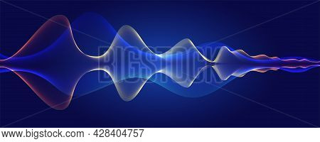 Glowing Lines On Blue Background. Waves Blending And Glow. Flowing Background. Curved Wavy Abstract