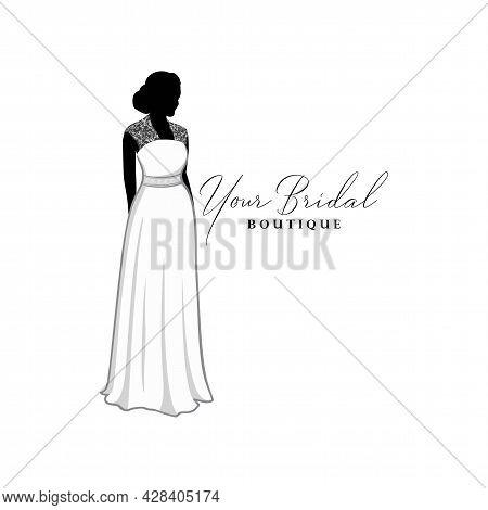 Elegance Wedding Dresses Boutique Logo, Bridesmaid Gown Logo, Bridal Gown Logo Vector Design Templat