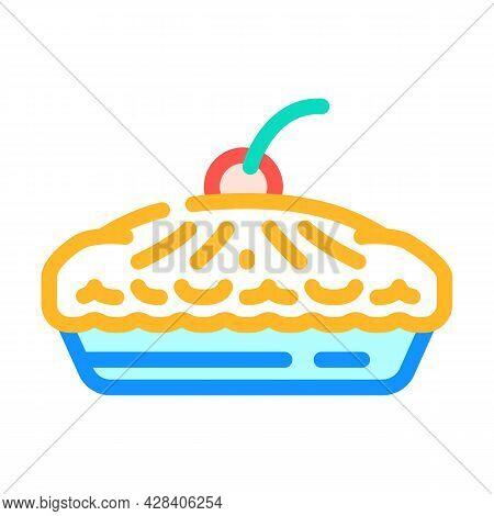 Pie With Cherry Berry Dessert Color Icon Vector. Pie With Cherry Berry Dessert Sign. Isolated Symbol