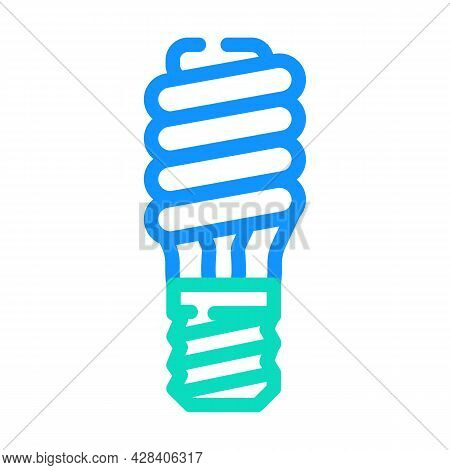 Electric Economy Lamp Color Icon Vector. Electric Economy Lamp Sign. Isolated Symbol Illustration