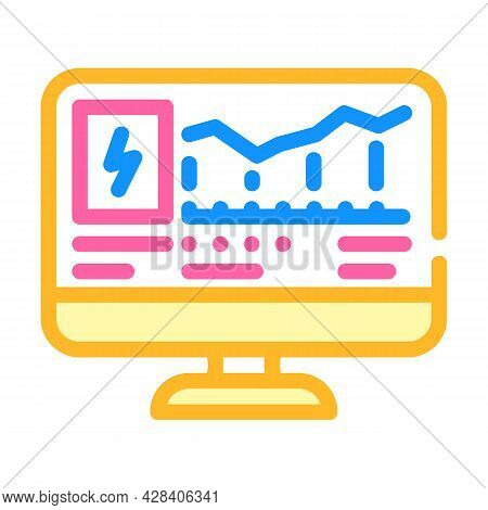 Computer Control Of Electricity Consumption Color Icon Vector. Computer Control Of Electricity Consu
