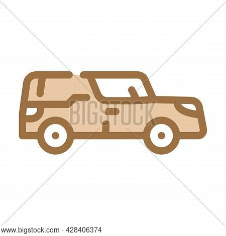 Funeral Hearse Color Icon Vector. Funeral Hearse Sign. Isolated Symbol Illustration