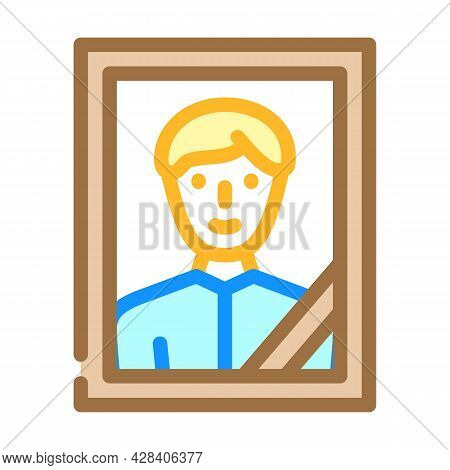 Portrait With Funeral Ribbon Color Icon Vector. Portrait With Funeral Ribbon Sign. Isolated Symbol I