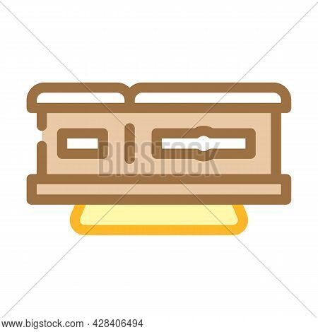 Coffin On Stand Color Icon Vector. Coffin On Stand Sign. Isolated Symbol Illustration
