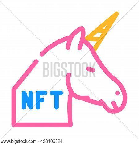 Nft Unicorn Color Icon Vector. Nft Unicorn Sign. Isolated Symbol Illustration