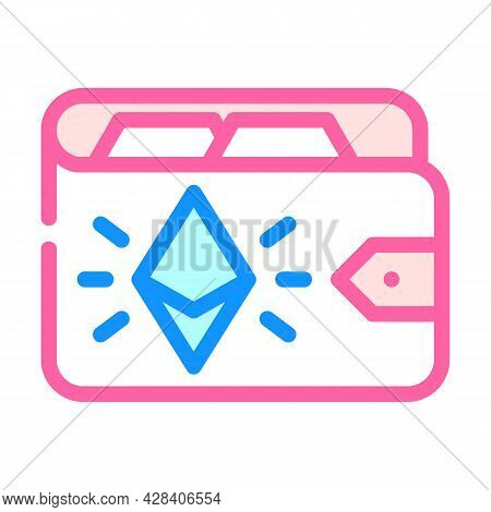 Ethereum Wallet Color Icon Vector. Ethereum Wallet Sign. Isolated Symbol Illustration