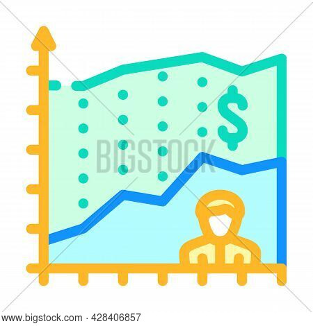 Investor Income Chart Color Icon Vector. Investor Income Chart Sign. Isolated Symbol Illustration