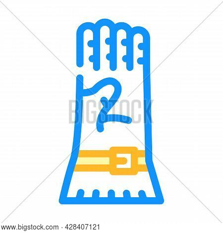 Protective Glove Color Icon Vector. Protective Glove Sign. Isolated Symbol Illustration