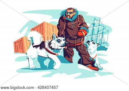 Brave Male Adventurer On North Pole Vector Illustration. Man In Winter Clothes With Dogs Flat Style.