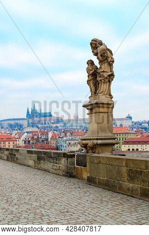 Sculptural Compositions Of Charles Bridge, Prague, Czech Republic. Saint Anne, Mother Of Virgin Mary