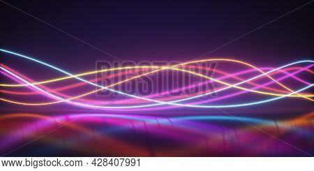Bright neon curved lines in the form of waves on a dark background. Creative wallpapers. 3D illustration, rendering.