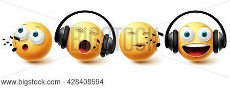 Emoji Music Emoji Vector Set. Emojis Emoticon With Headphones Singing And Listening Icon Collection