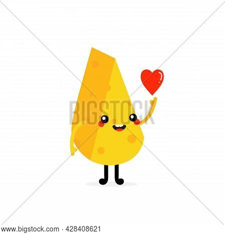 Cute Smiling Cartoon Style Cheese Chunk Character Holding In Hand Red Heart. Love And Kindness Conce