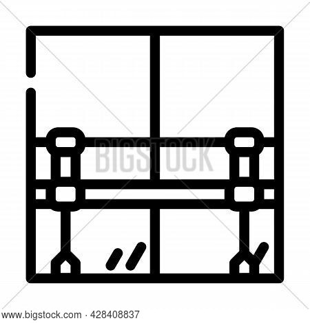 Railings With Mirror In Dance Studio Line Icon Vector. Railings With Mirror In Dance Studio Sign. Is