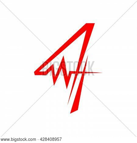 Sporty Number Four 4 Logo Combined With Heartbeat Vector Design Illustration