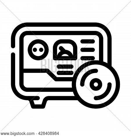 Gas Meter Fuel Indicator Line Icon Vector. Gas Meter Fuel Indicator Sign. Isolated Contour Symbol Bl
