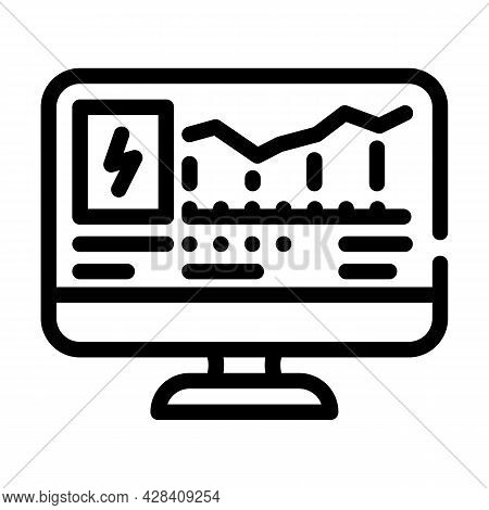 Computer Control Of Electricity Consumption Line Icon Vector. Computer Control Of Electricity Consum
