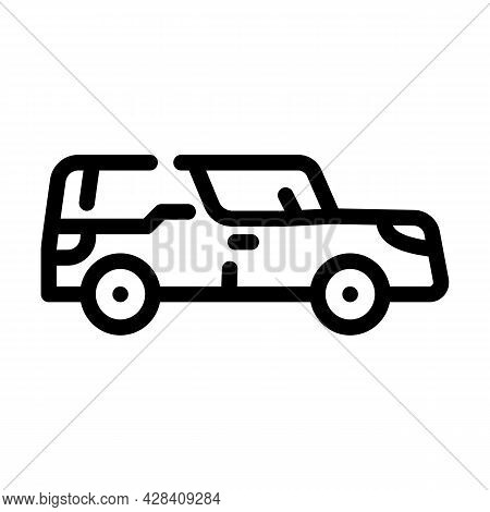 Funeral Hearse Line Icon Vector. Funeral Hearse Sign. Isolated Contour Symbol Black Illustration