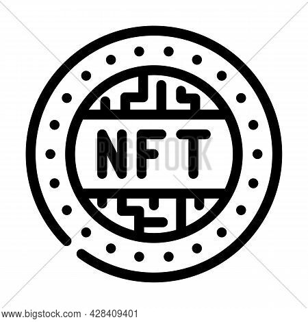 Nft Token Line Icon Vector. Nft Token Sign. Isolated Contour Symbol Black Illustration