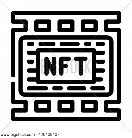 Nft Movies Line Icon Vector. Nft Movies Sign. Isolated Contour Symbol Black Illustration
