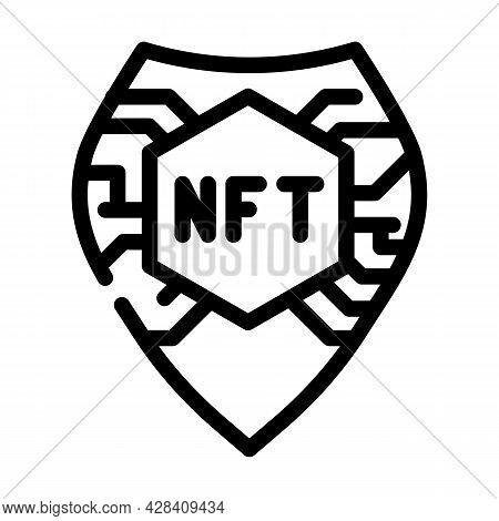 Nft Shield Line Icon Vector. Nft Shield Sign. Isolated Contour Symbol Black Illustration