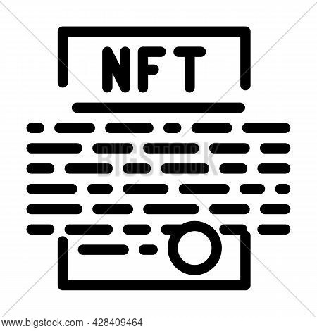 Smart Nft Contract Line Icon Vector. Smart Nft Contract Sign. Isolated Contour Symbol Black Illustra