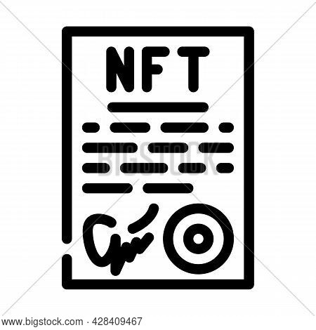 Approved Virtual Nft Contract Line Icon Vector. Approved Virtual Nft Contract Sign. Isolated Contour