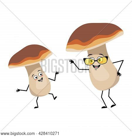 Cute Mushroom Character With Joyful Emotions, Smile Face, Happy Eyes, Arms And Legs. A Funny Healthy